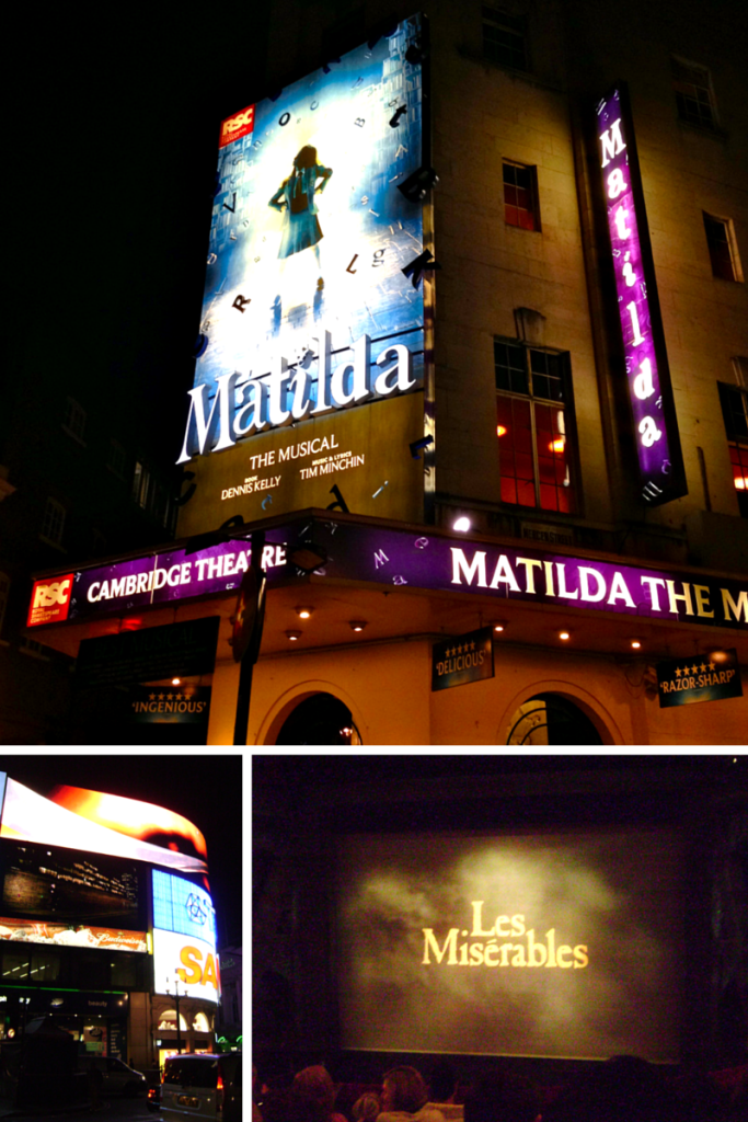 West End London England Matilda Les Miserables Wicked Picadilly Circus